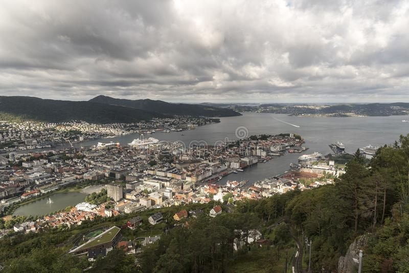 Fjords Cruise 4th - 11th AugustView to the north west across Bergen from Fløyen Mountain. View to the north west across Bergen from Fløyen Mountain Bergen stock photos