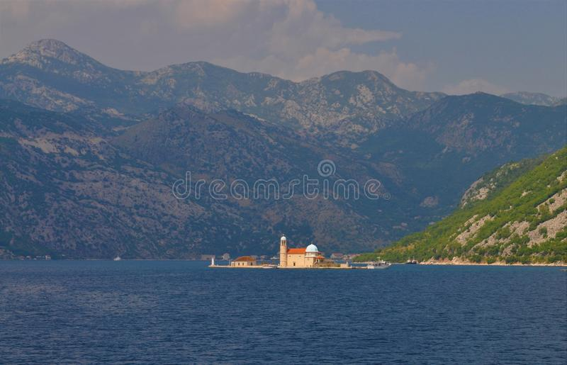 The fjords, the sea and the Church of Our Lady of the Rocks stock image