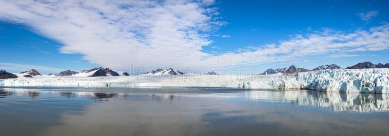 Fjortende Julibreen and 14 Juli Bukta at Svalbard, Norway in summer. Panoramic view of the Glacier 14 July or also known as Fjortende Julibreen and 14 Juli Bukta royalty free stock photos