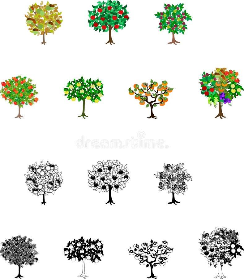 Fjorton symboler för fruktträd vektor illustrationer