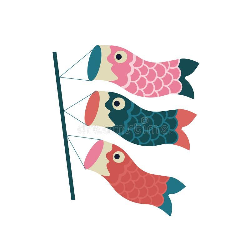 Flâmula da carpa de Koinobori Papagaios dos peixes O dia das crianças de comemoração japonesas tradicionais ilustração do vetor