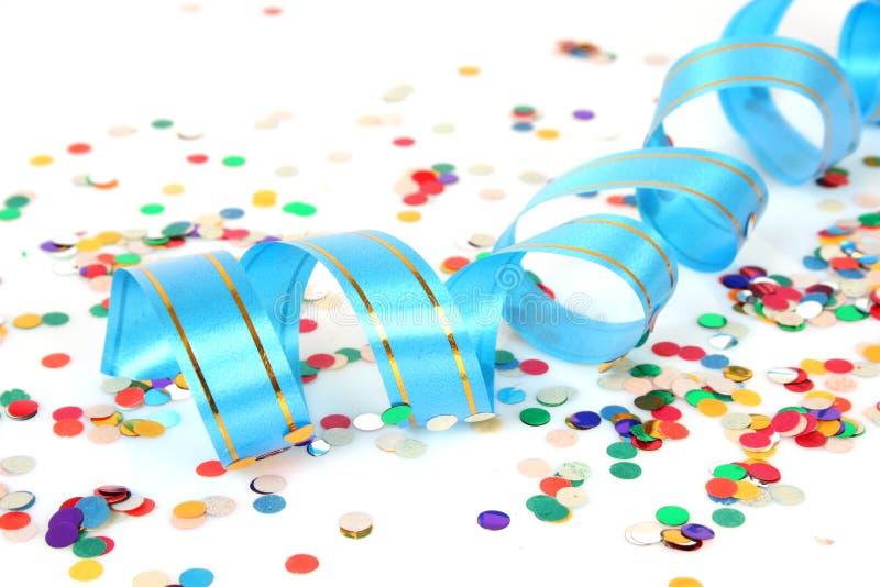 Flâmula e confetti fotografia de stock royalty free