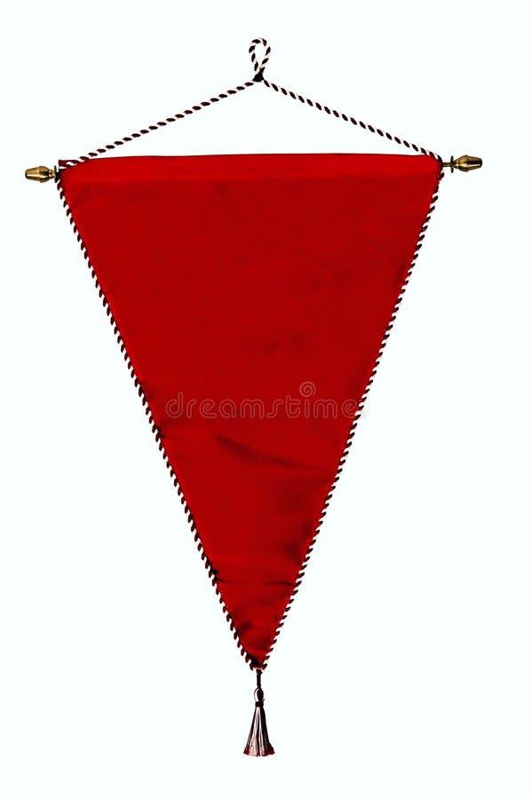 Flâmula ou bandeira vermelha à moda isolada sobre o branco imagens de stock royalty free