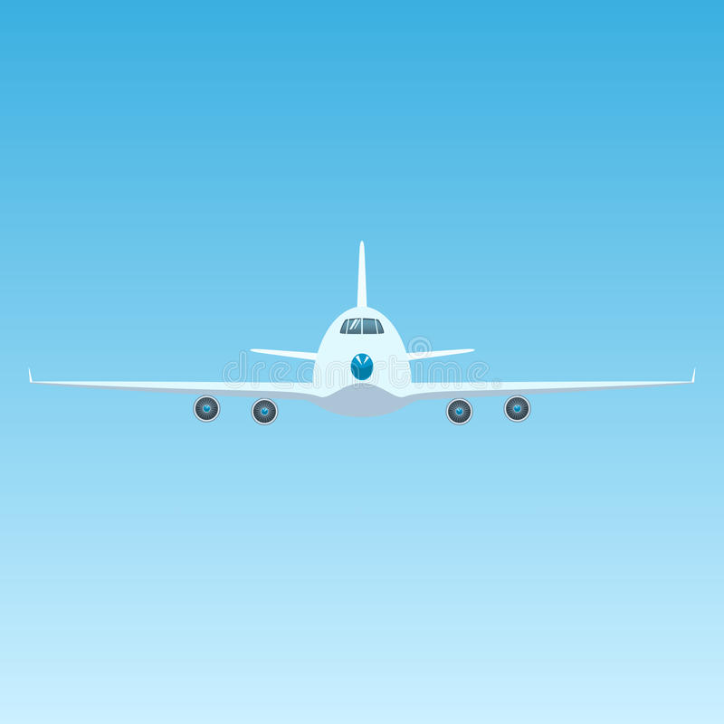 Fläche im Himmel, Front View des Flugzeuges stock abbildung