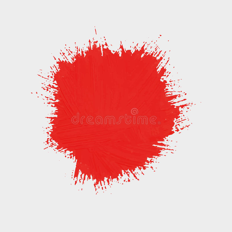 Fläck av röd målarfärg Rund fläck av målarfärg stock illustrationer