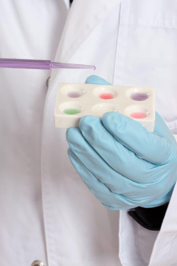 fläck för forskare för kemistmikroplattaforskning royaltyfri fotografi