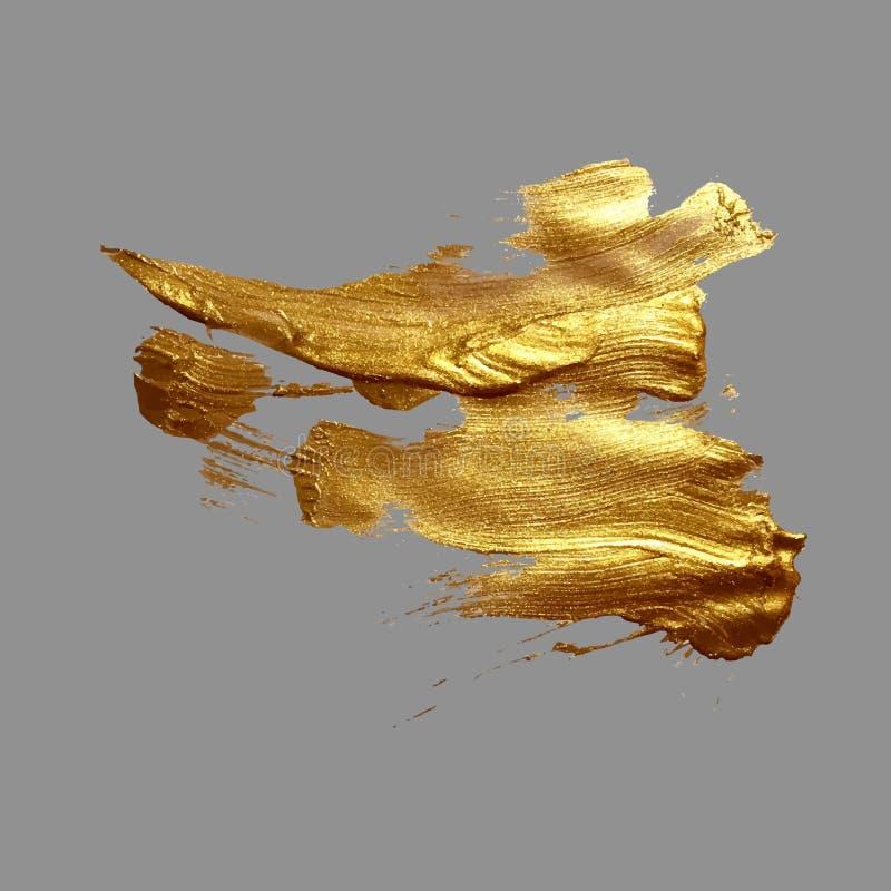 Fläck för målarfärg för slaglängd för borste för handteckning guld- på en grå bakgrund vektor illustrationer