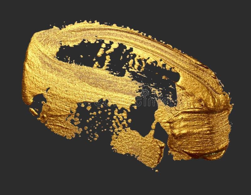 Fläck för målarfärg för slaglängd för borste för handteckning som guld- isoleras på ett mörker royaltyfri bild