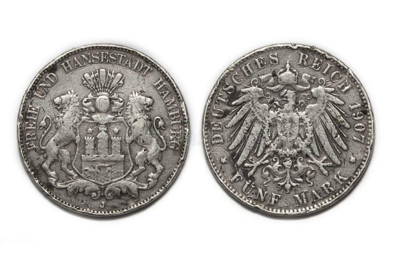Fläck 1907 för silvermynt 5 arkivbild
