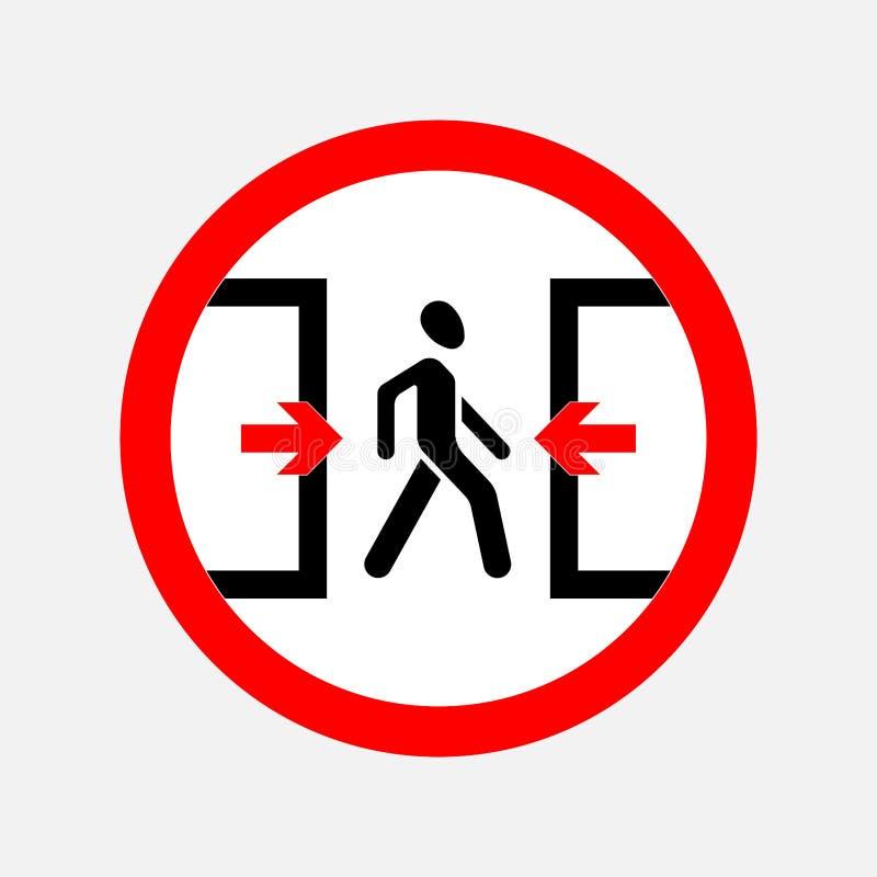 Fläck försiktigt dörren som går mannen stock illustrationer
