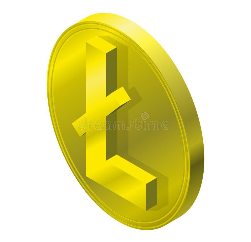 Fläck Litecoin för guld- mynt i isometriskt perspektiv Symbol av cryptocurrencyen, moln som bryter märke royaltyfri illustrationer