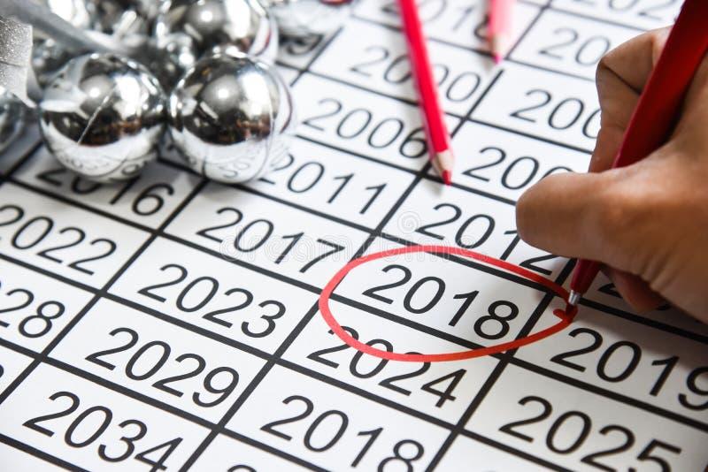 Fläck på nummer av de nya åren på 2018 arkivfoton