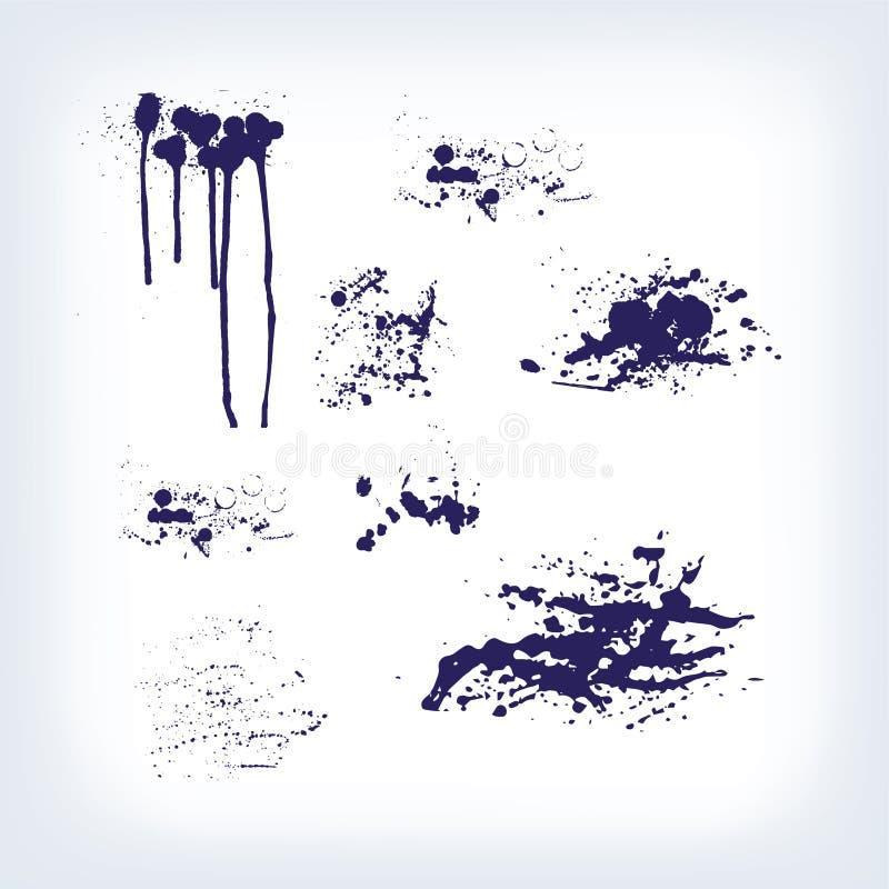 Fläckar dryper uppsättningen för strimmafärgstänkfläckar royaltyfri illustrationer