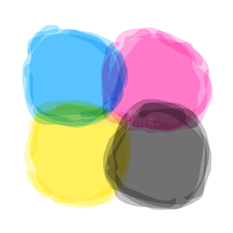 Fläckar för CMYK-vektorfärgstänk vektor illustrationer