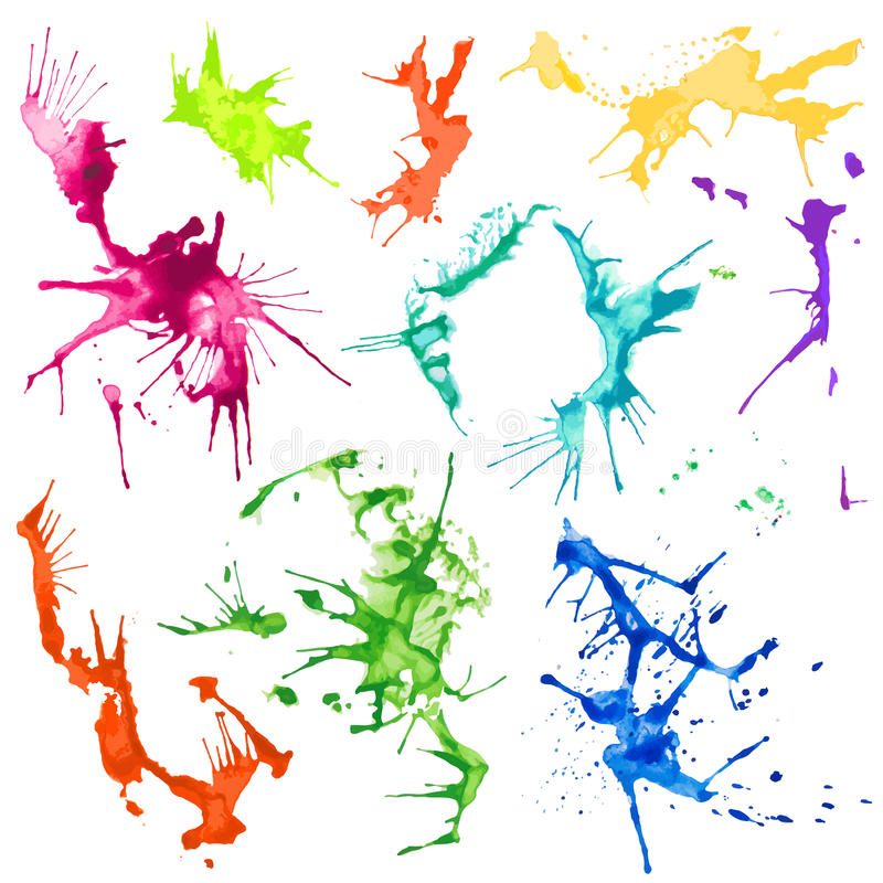Fläckar för färgstänk för vektorvattenfärg vektor illustrationer