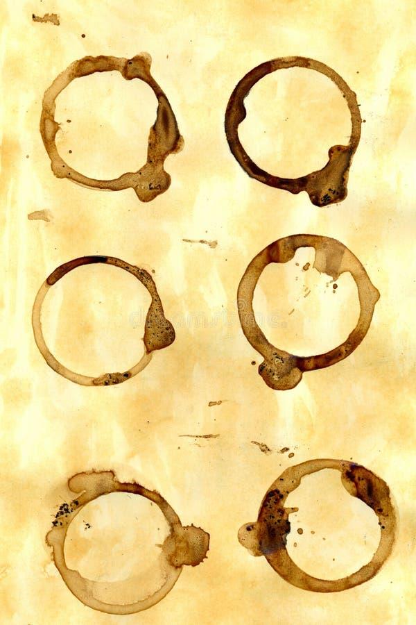 fläckar för kaffecirkel royaltyfri illustrationer