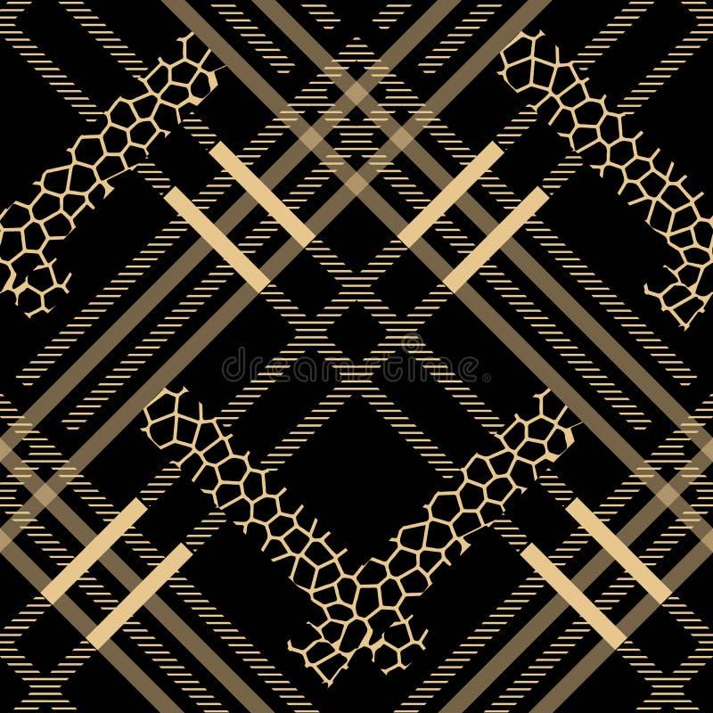 Fläckar för leopard för modell för skotsk tartangrunge sömlösa tartan med leopardstil 10 eps royaltyfri illustrationer