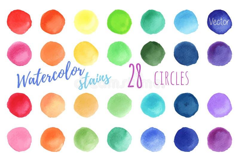 Fläckar för målarfärg för vattenfärg för vektorregnbågefärger vektor illustrationer