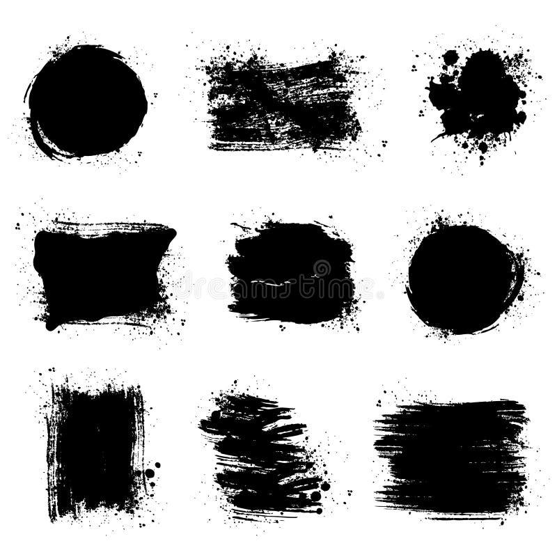 Fläckar för målarfärgborste Vektorgrungebakgrunder vektor illustrationer