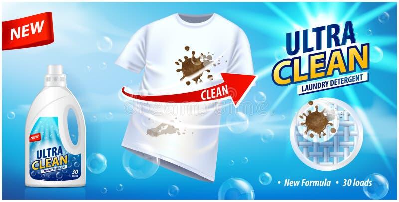 Fläckborttagningsmedel, annonsvektormall eller tidskriftdesign Annonsaffischdesign på blå bakgrund med den vita t-skjortan och fl royaltyfri illustrationer