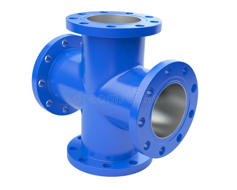 Fläns- rör för blått för industriell utrustning för anslutning stock illustrationer