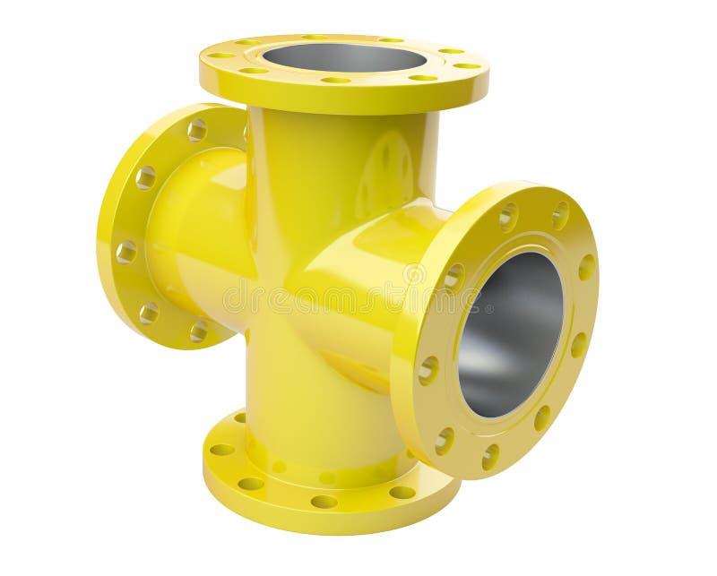 Fläns- rör för guling för industriell utrustning för anslutning stock illustrationer
