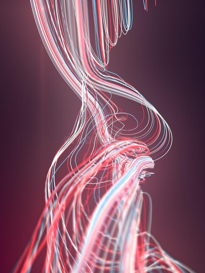 Fläta samman abstrakt begrepp färgade kurvor framförande 3d royaltyfri illustrationer
