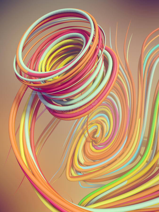 Fläta samman abstrakt begrepp färgade kurvor framförande 3d stock illustrationer
