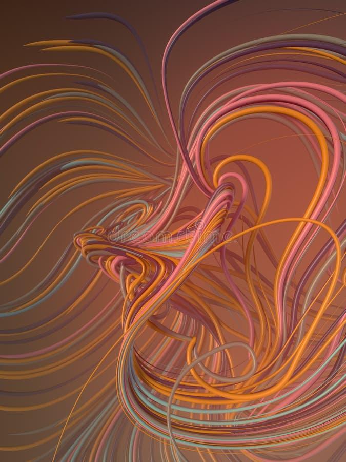 Fläta samman abstrakta röda och apelsinkurvor framförande 3d stock illustrationer
