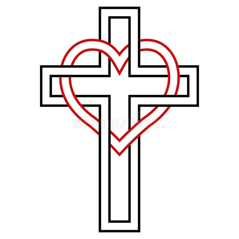 Fläta samman av hjärtan och kristenkorset, vektorsymbol av tro och förälskelse till guden kristet symbol vektor illustrationer