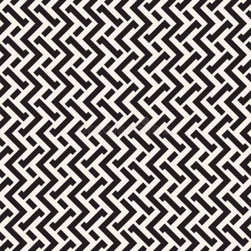 Fläta samman linjer Maze Lattice Etnisk monokrom textur seamless vektor för modell royaltyfri illustrationer