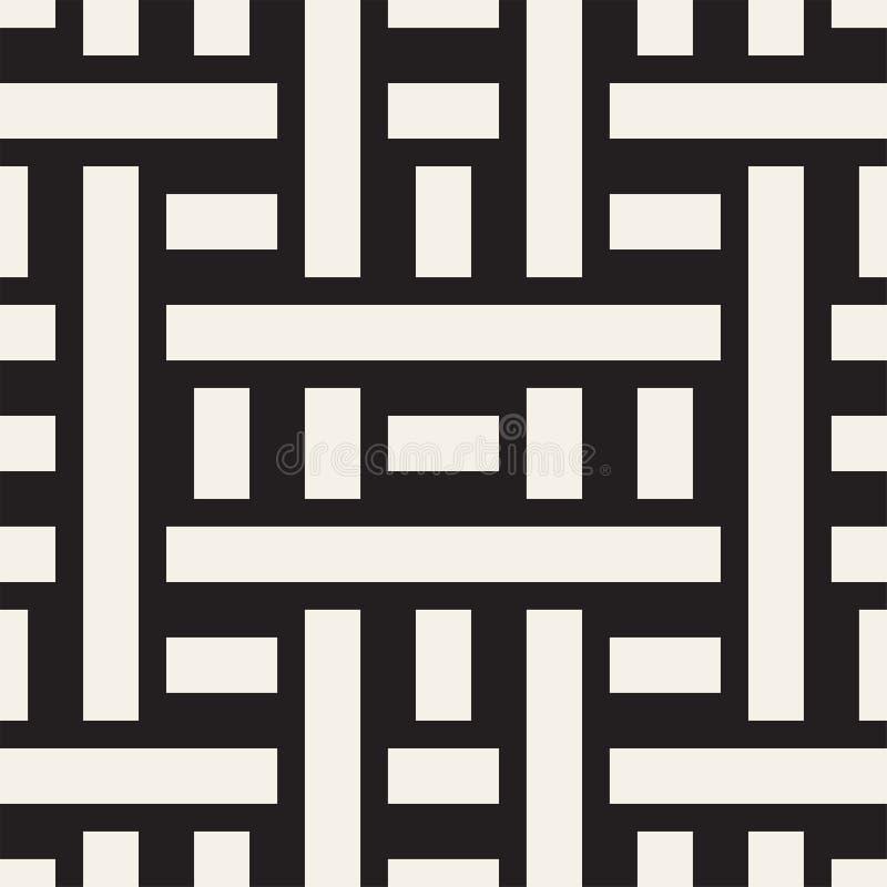 Fläta samman linjer Maze Lattice Etnisk monokrom textur seamless vektorwhite för svart modell royaltyfri illustrationer