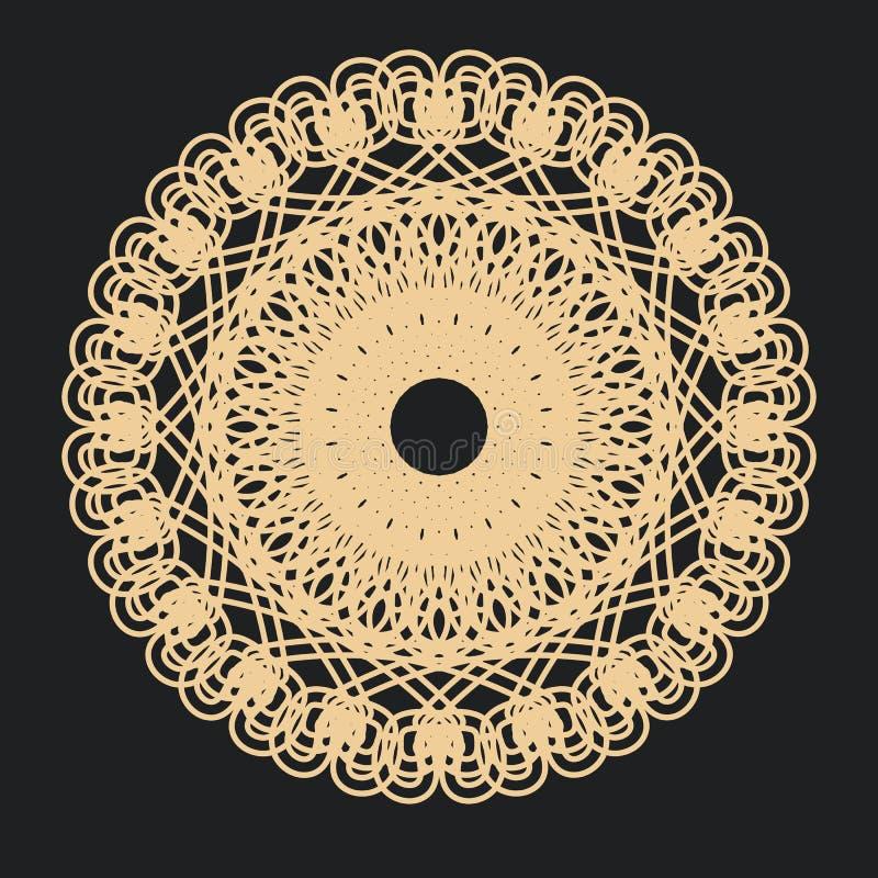 Flätad dekorativ mandala i orientalisk stil vektor illustrationer