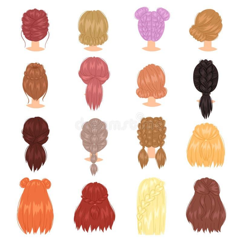Flätad frisyr för hårvektorkvinna med fransk flätad tråd- eller hästsvansillustrationfrisering eller haircutting med stock illustrationer