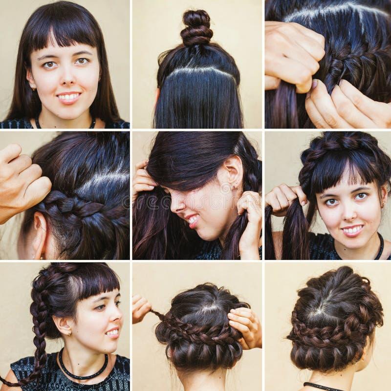 Flätad frisyr från skönhetblogger royaltyfri fotografi