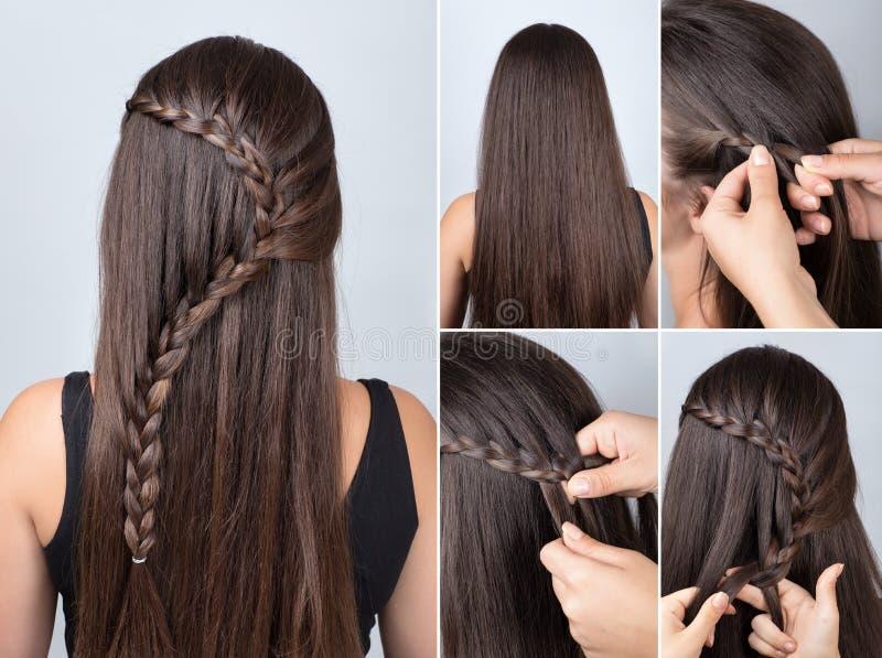 Flätad tråd för frisyr för orubbligt långt hår royaltyfria bilder