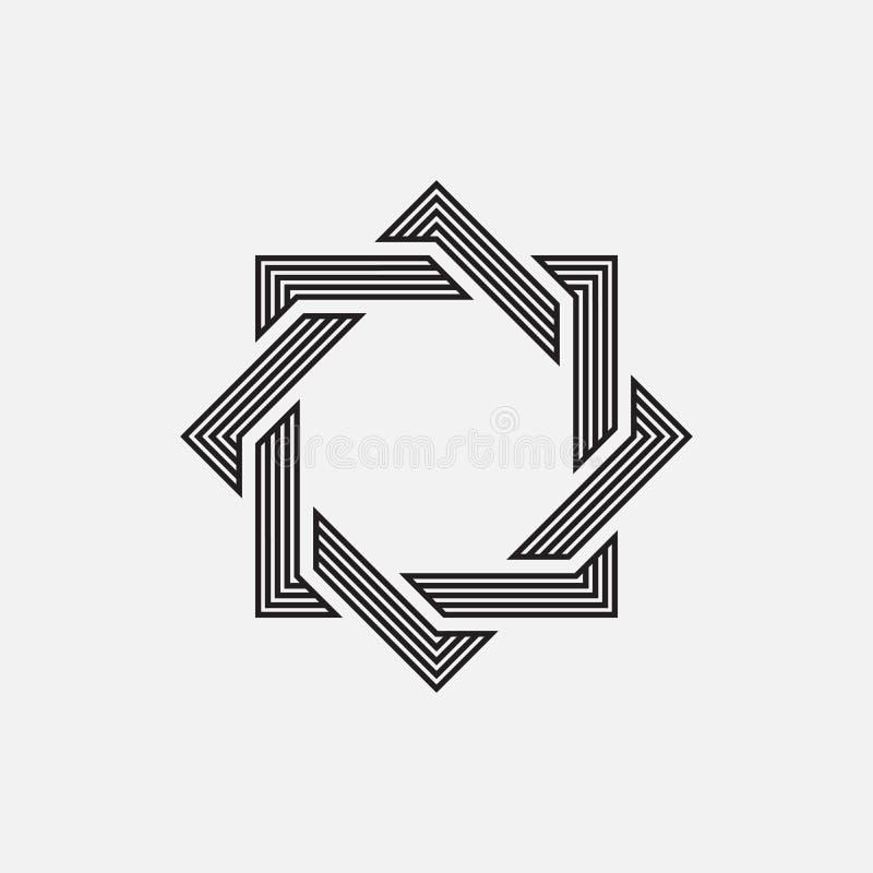 Flätade samman geometriska former royaltyfri illustrationer