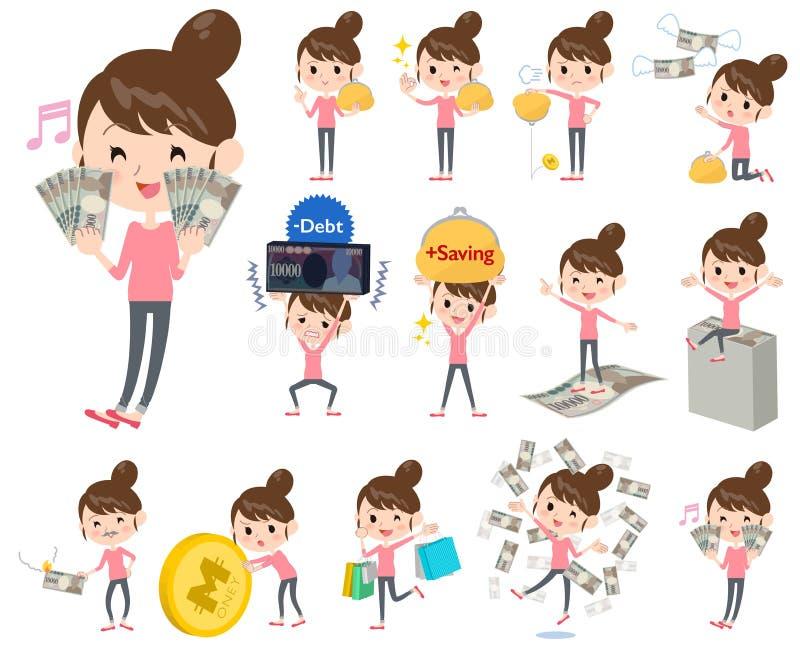 Flåsanden för bullehårmamma utformar om pengarna stock illustrationer