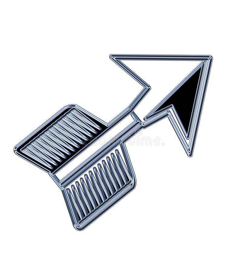 Flèche à trois dimensions de chrome se dirigeant vers le haut illustration stock