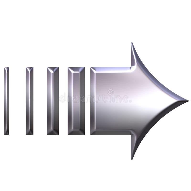 flèche 3D argentée illustration libre de droits