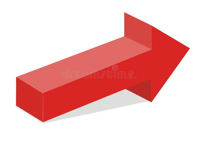 Flèche 3d rouge illustration libre de droits