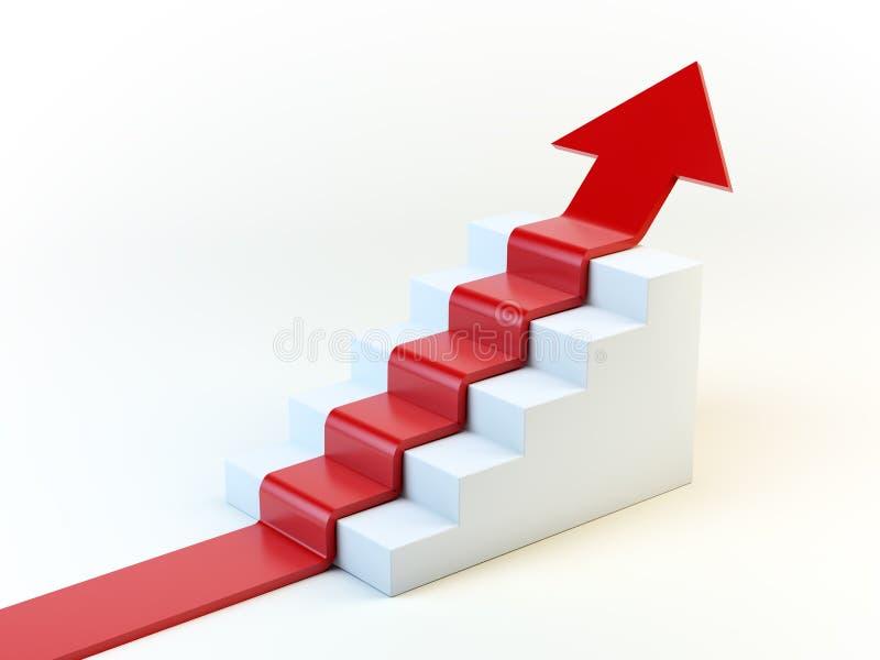 flèche 3D sur un escalier illustration libre de droits