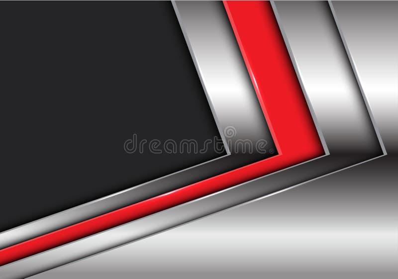 Flèche argentée rouge abstraite avec le vecteur futuriste moderne de fond de conception gris-foncé d'espace vide illustration libre de droits
