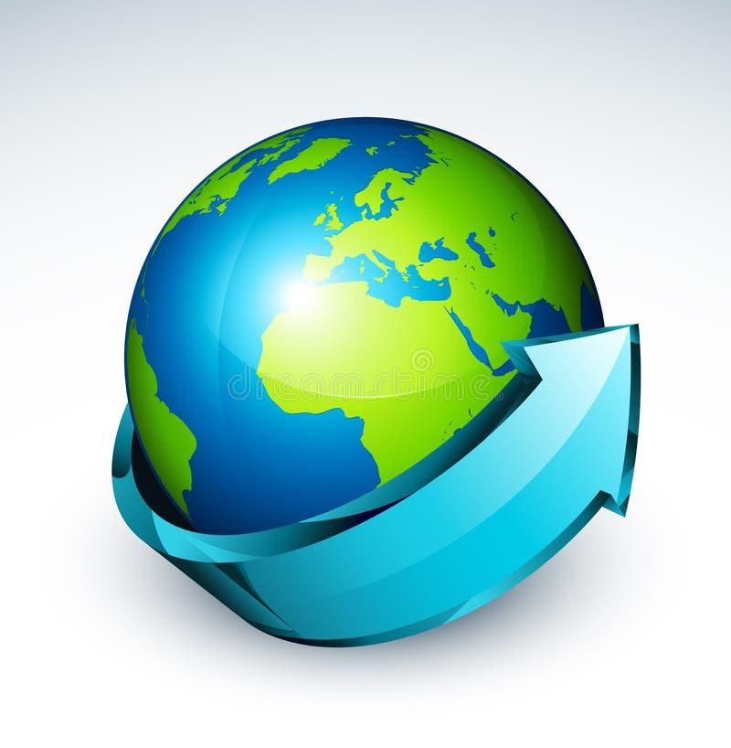 Flèche autour de globe de monde illustration libre de droits