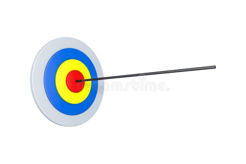 Flèche avec la cible colorée de but sur le blanc illustration de vecteur