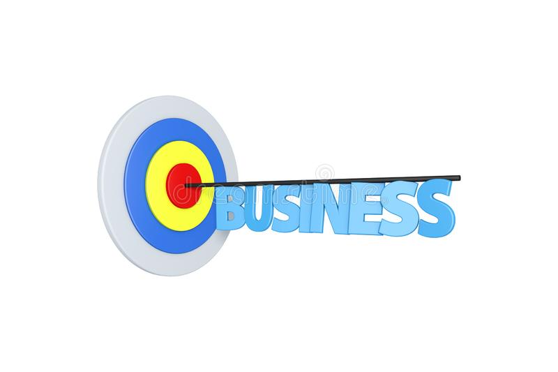 Flèche avec le texte d'affaires sur la cible colorée de but sur le blanc illustration de vecteur