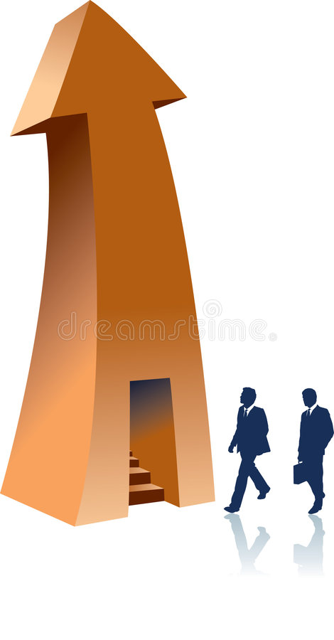 Flèche avec stairway.jpg illustration de vecteur