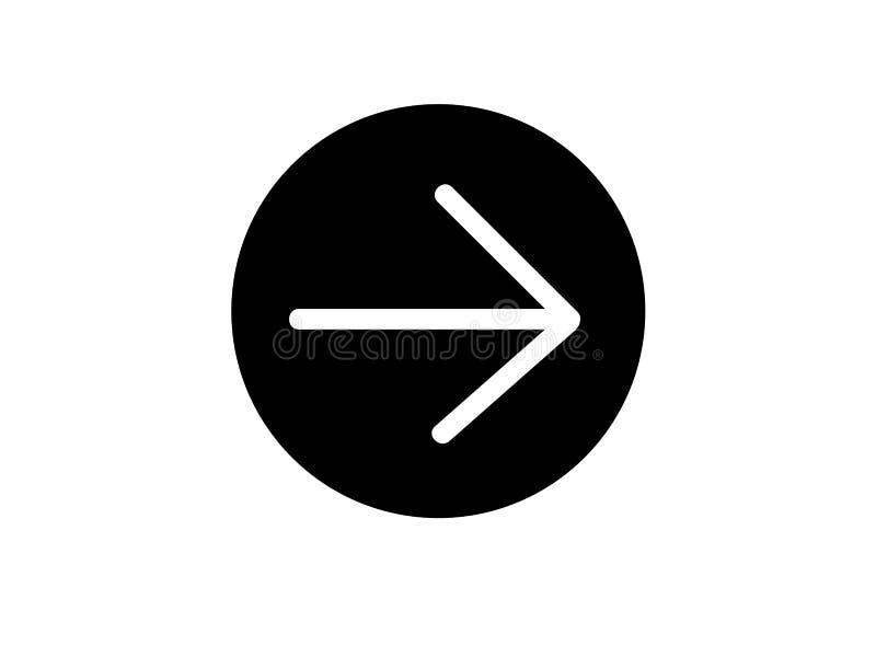 Flèche blanche en cercle noir images libres de droits