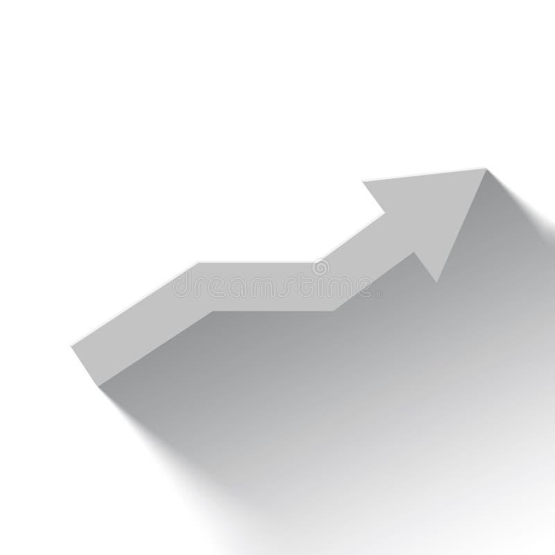 Flèche blanche en hausse sur le fond blanc avec l'ombre illustration libre de droits