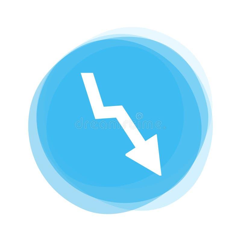 Flèche blanche vers le bas sur le bouton bleu-clair illustration de vecteur
